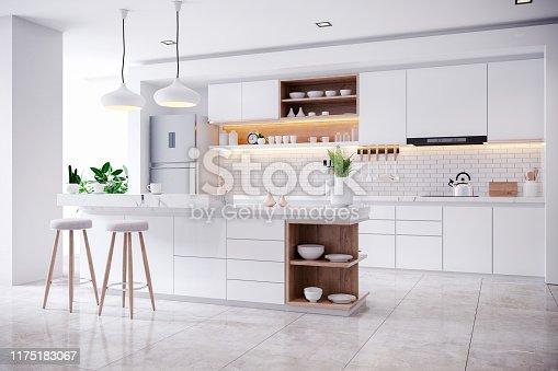 istock Modern Contemporary and white kitchen room interior 1175183067