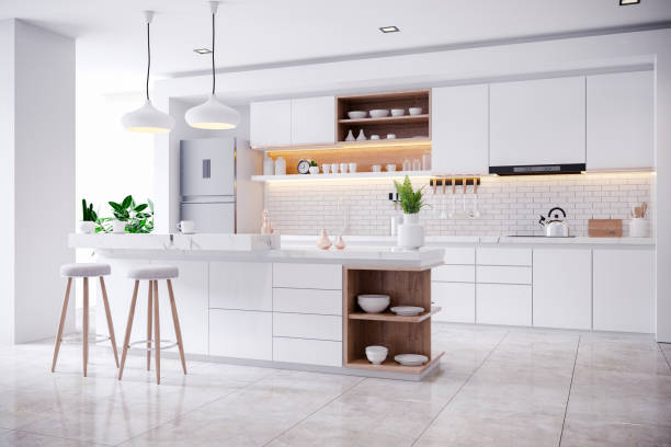 Modern Contemporary and white kitchen room interior Modern Contemporary white kitchen room interior .3drender domestic kitchen stock pictures, royalty-free photos & images