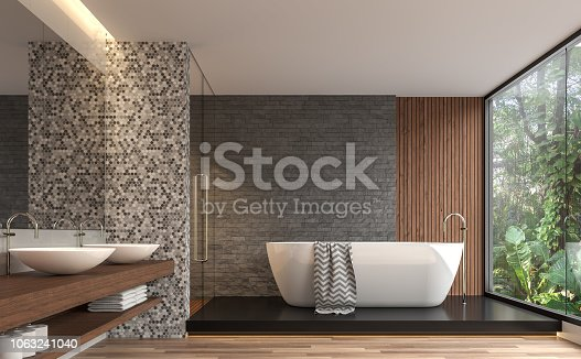 istock Modern contemporary bathroom with nature view 3d render 1063241040