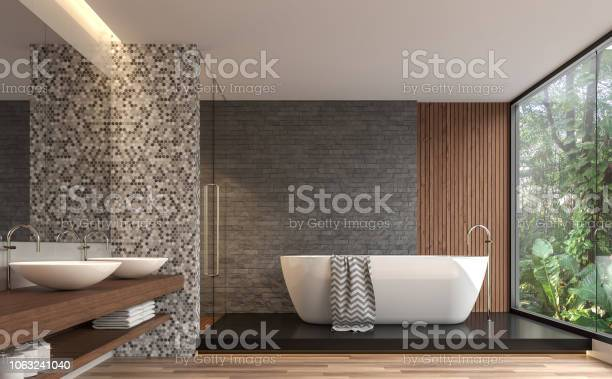 Modern contemporary bathroom with nature view 3d render picture id1063241040?b=1&k=6&m=1063241040&s=612x612&h=edmydp3yd2b1elxipbkc6x0ylfpnaa4wlx vfl0y2 0=