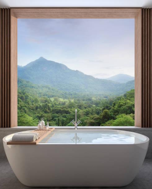 Modernes modernes Badezimmer mit Blick auf die Natur 3d render – Foto