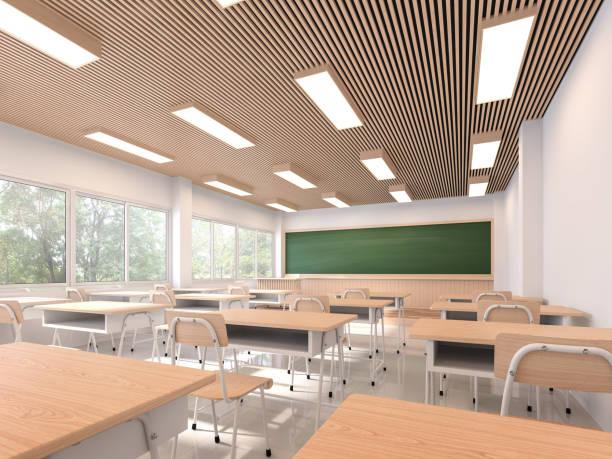 Moderne zeitgenössische Klassenzimmer 3D render, – Foto