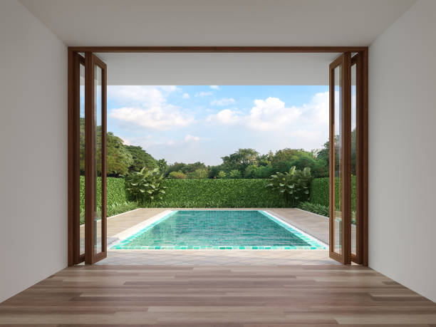 Modern contemporary empty room with swimming pool background 3d render stock photo
