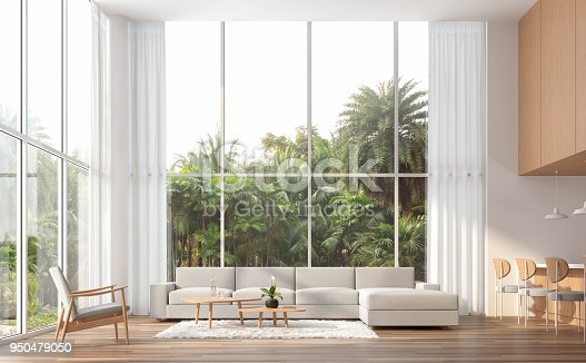 istock Modern contemporary high ceiling living room 3d render 950479050