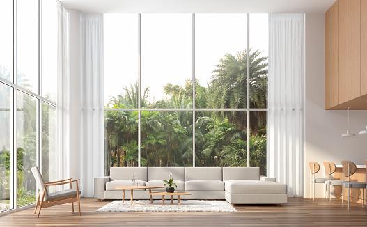 Modern contemporary high ceiling living room 3d render