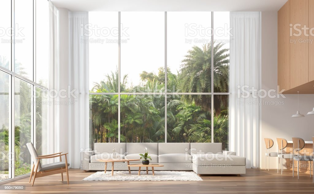 Modern contemporary high ceiling living room 3d render stock photo