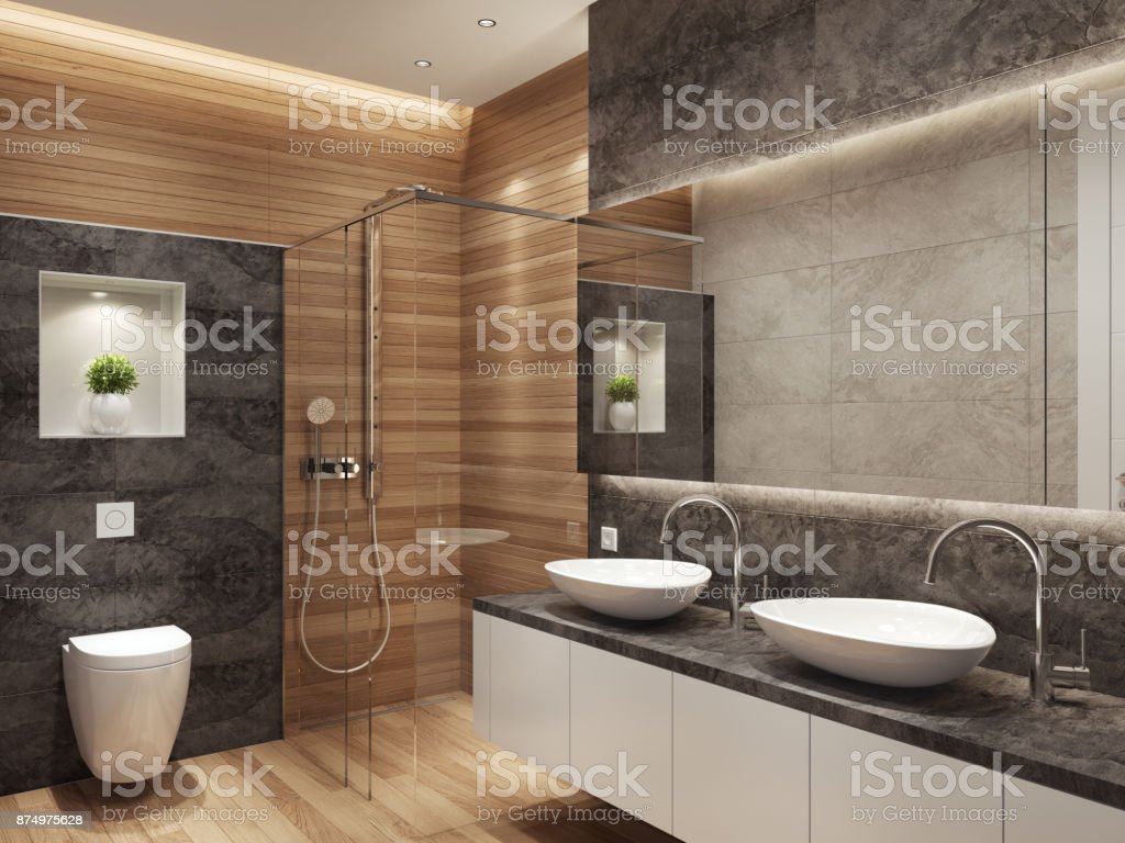 Modern contemporary interior bathroom with two sinks and large mirror stock photo