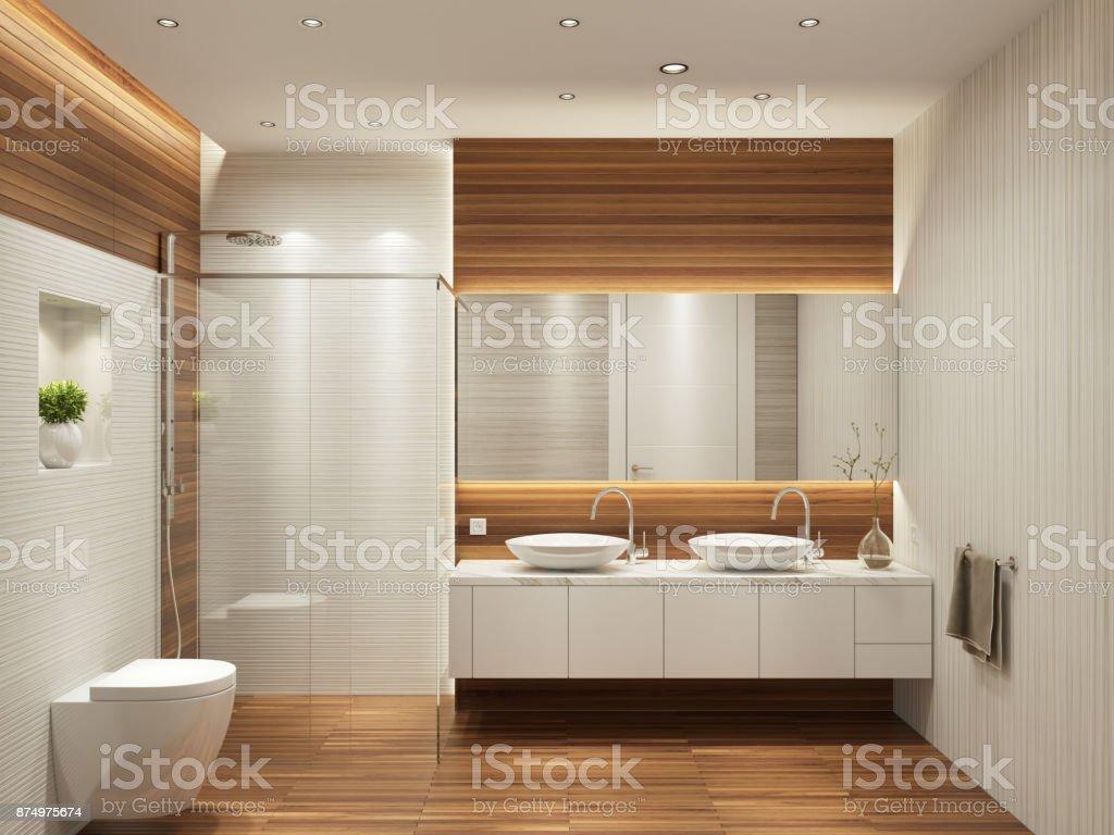 Moderne zeitgenössische Interieur Badezimmer mit zwei Waschbecken und große Spiegel – Foto