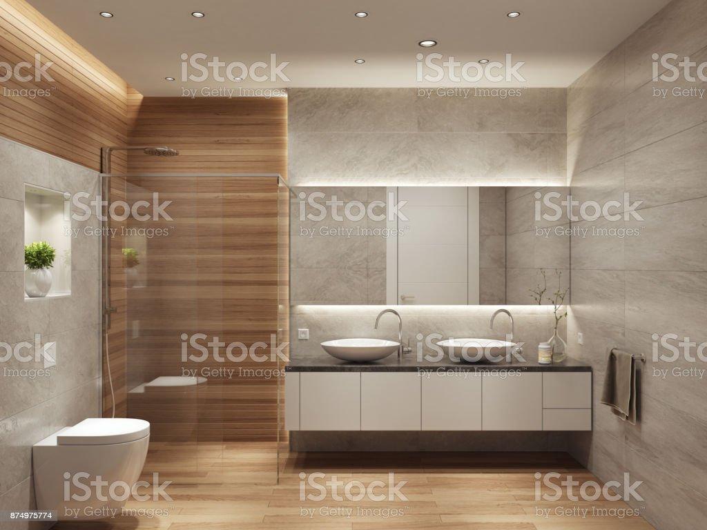 Moderna casa de banho interior contemporânea com duas pias e espelho grande - foto de acervo