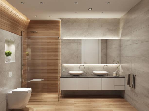 moderne zeitgenössische interieur badezimmer mit zwei waschbecken und große spiegel - minimalbadezimmer stock-fotos und bilder