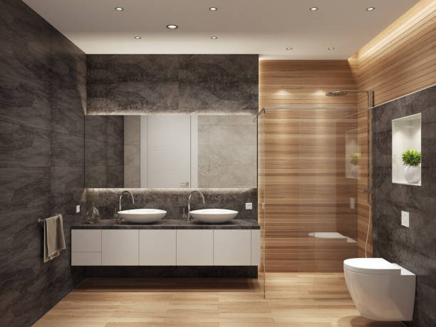 Modern contemporary interior bathroom with two sinks and large mirror Modern interior bathroom with two sinks. Large wall panels. 3d rendering. domestic bathroom stock pictures, royalty-free photos & images
