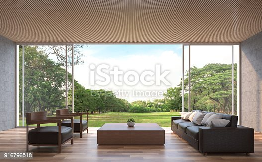 istock Modern contemporary living room 3d rendering image. 916796518