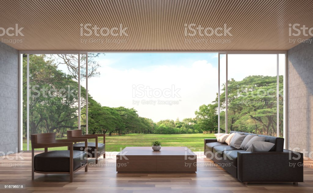 Modern contemporary living room 3d rendering image. stock photo
