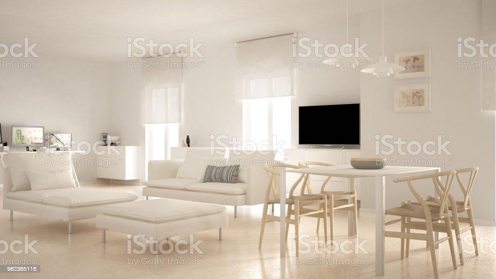 Moderne Zeitgenössische Wohnzimmer Offener Raum Mit Esstisch ...