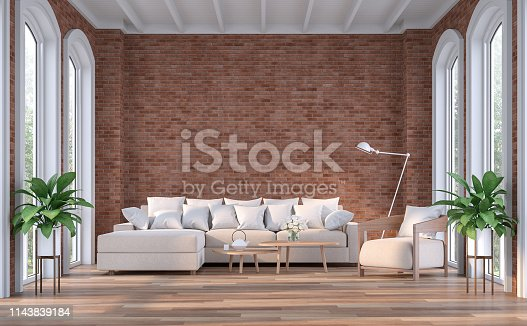 istock Modern contemporary living room with empty red brick wall 3d render 1143839184
