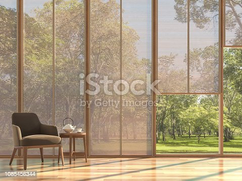 1066863894 istock photo Modern contemporary living room with wooden curtain 3d render 1085456344