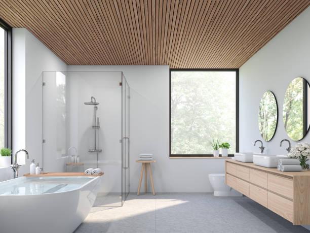Modern contemporary loft bathroom 3d render stock photo