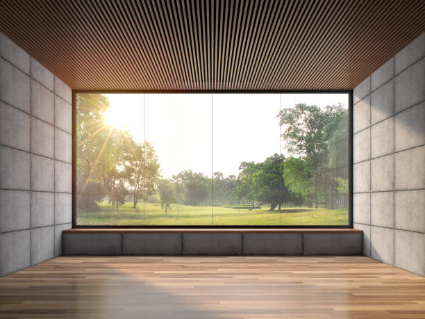 Modern contemporary loft empty room with nature view 3d render. stock photo