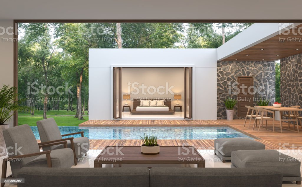 Modern contemporary pool villa 3d rendering image stock photo