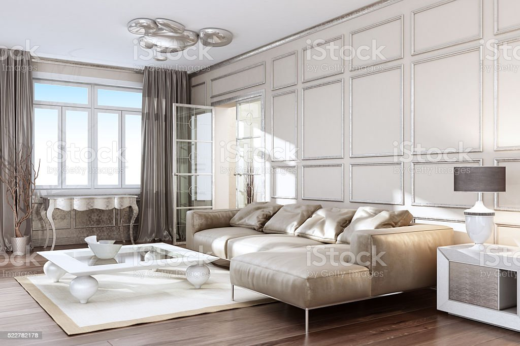 Modernes silbernes Wohnzimmer – Foto