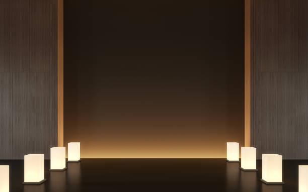moderne zeitgenössische raum innenraum mit holz 3d-bild rendern - meditationsräume stock-fotos und bilder
