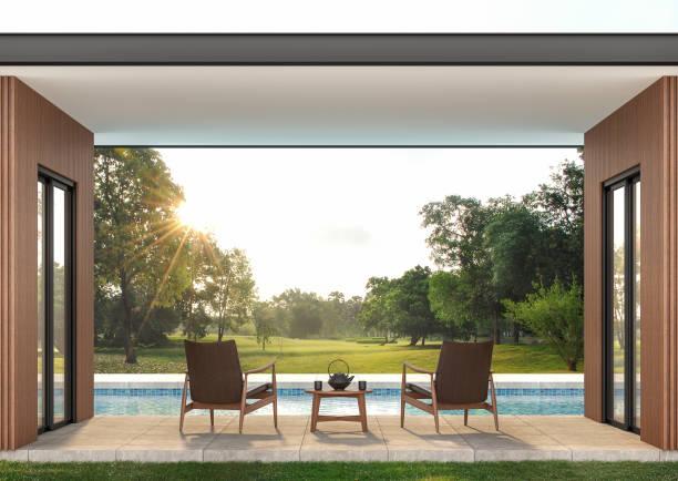 Moderne moderne, moderne Poolterrasse 3d render – Foto