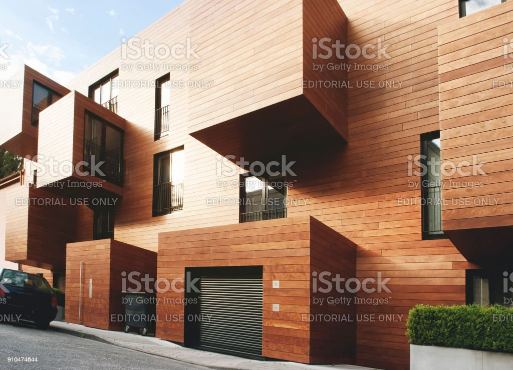 Modern contemporary wood sided building stock photo