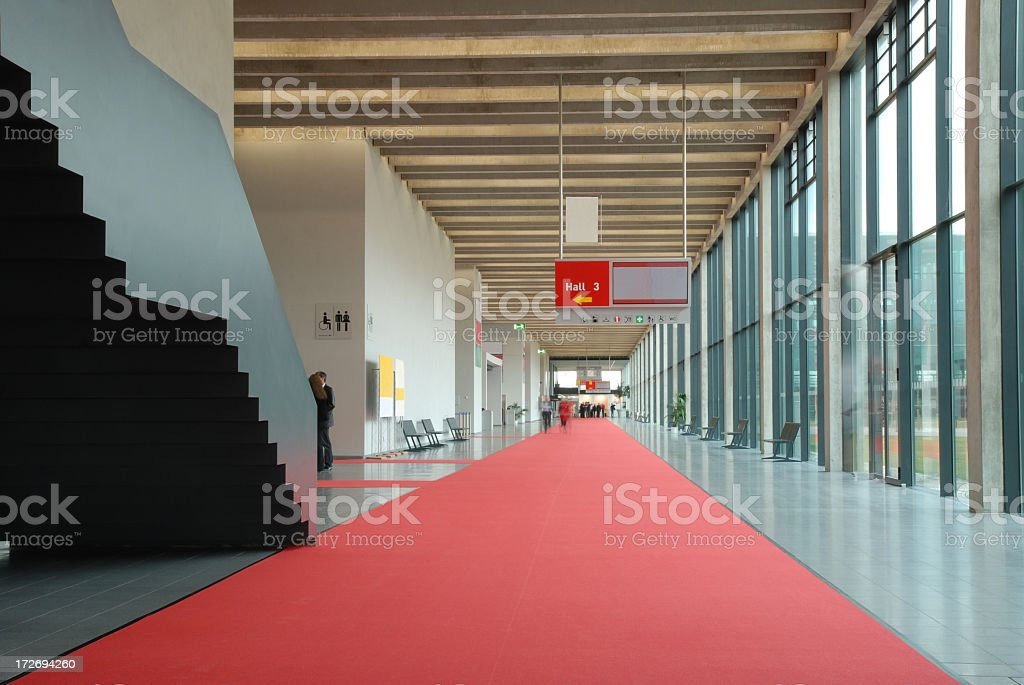 Modern convention center hallway stock photo