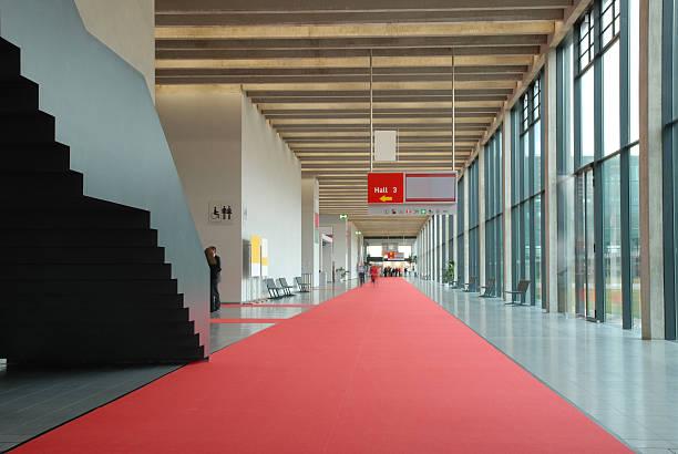 Modern convention center hallway stock photo