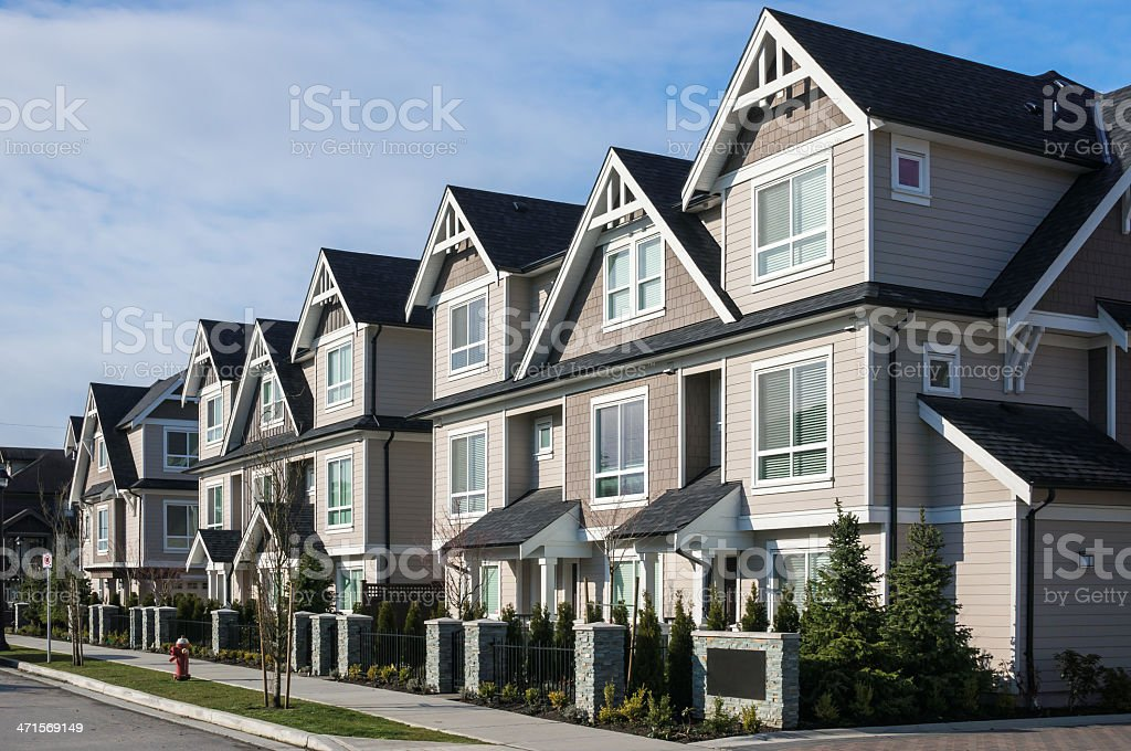 Modern cookie-cutter townhouses stock photo