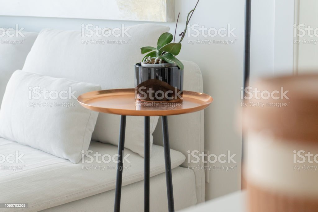 Modern Copper Tray Side Table With Black Legs Next To A