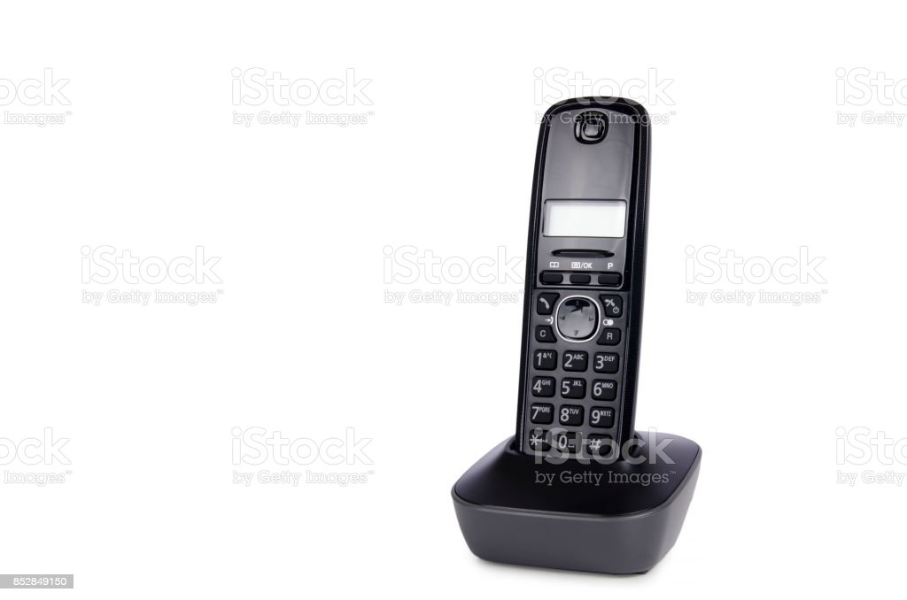 Modern cordless dect phone with charging station stock photo