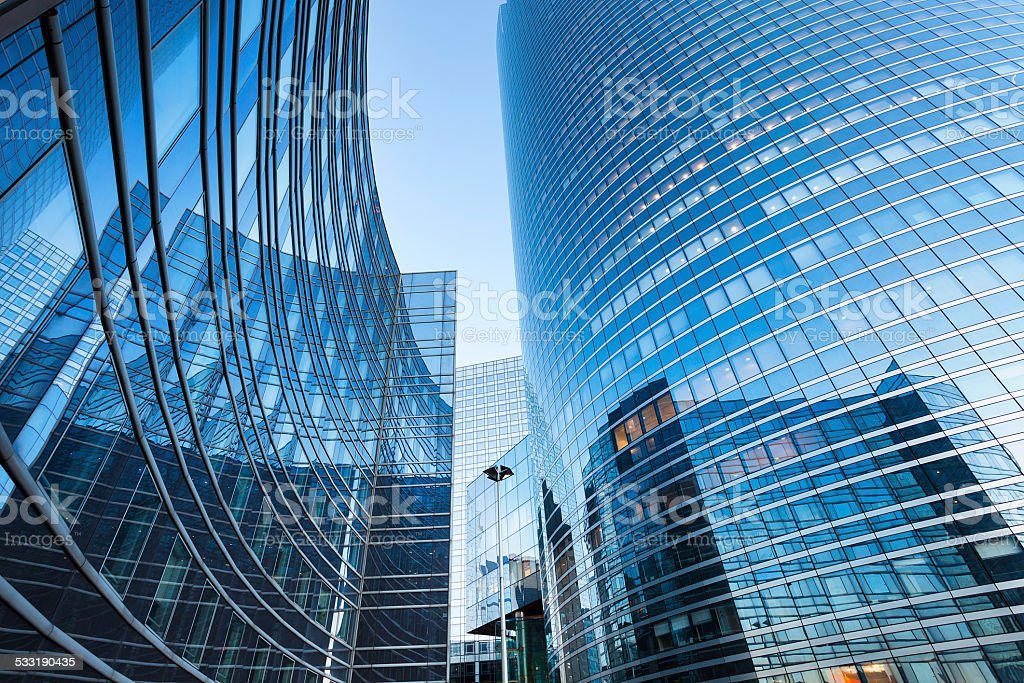 Modern Corporate Buildings in Financial District La Defense, Paris stock photo