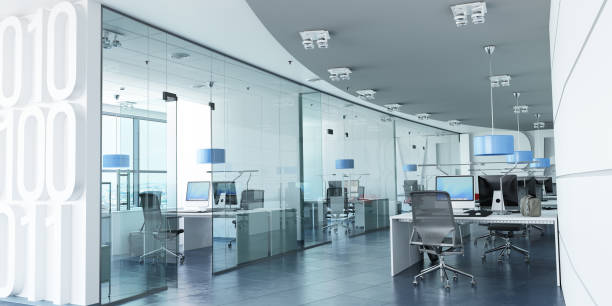 modern corporate office blue - office cubicle stock pictures, royalty-free photos & images