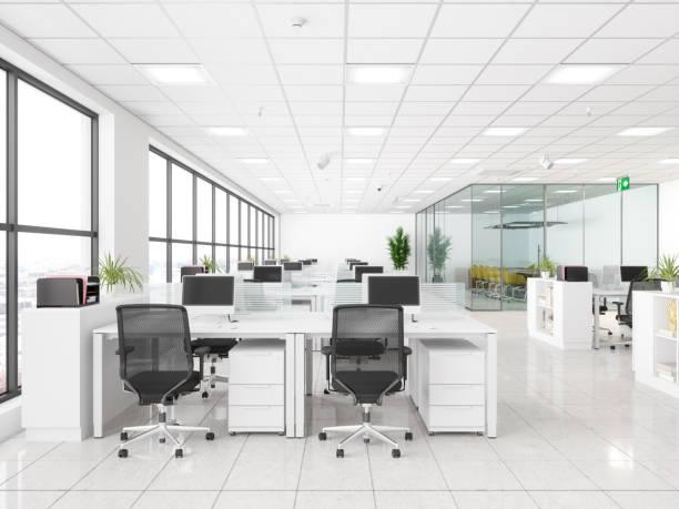 Moderner Corporate Work Space. Offener Büro- und Sitzungssaal – Foto