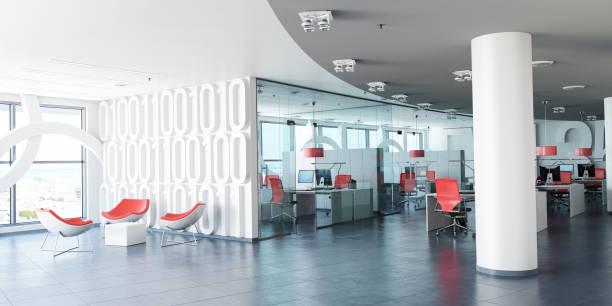 modern corporate workspace - modern office foto e immagini stock