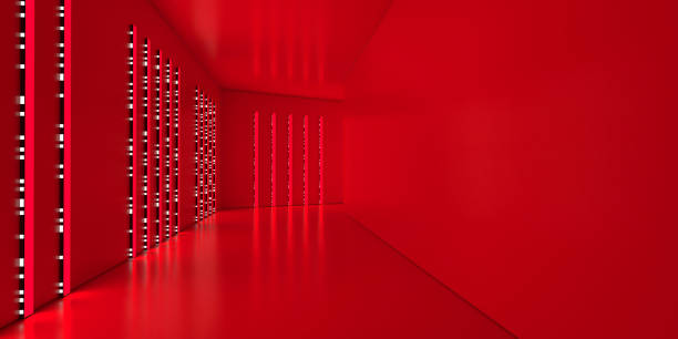 modern corridor illuminated by glowing red light - vr red background imagens e fotografias de stock