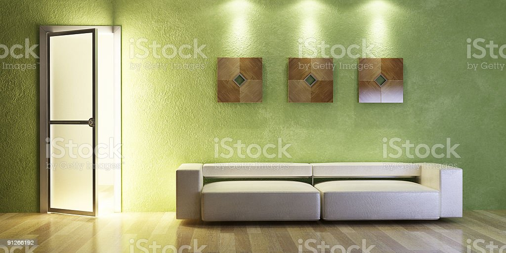 modern couch 3D rendering royalty-free stock photo