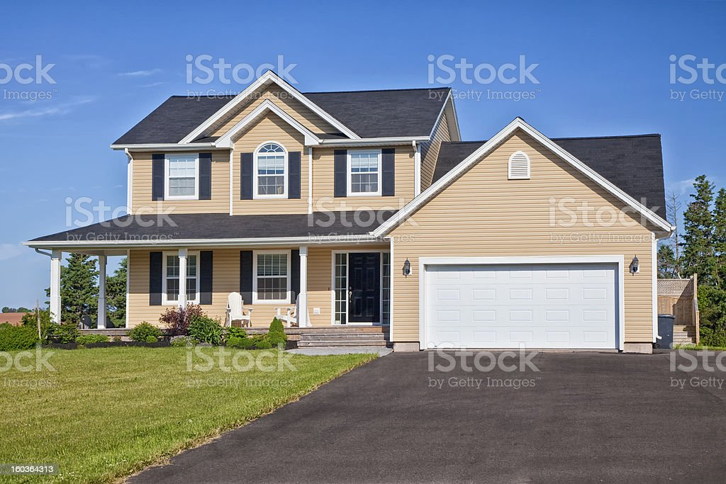 A modern country home and garden stock photo