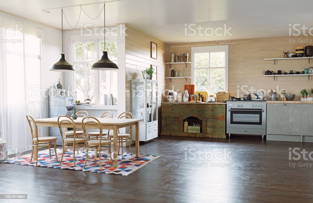 Modern Country Style Kitchen Stock Photo - Download Image ...