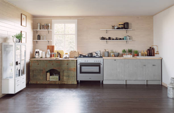 moderne landhausküche - landhausstil küche stock-fotos und bilder