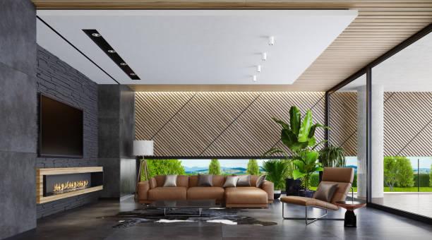 Moderne Villa mit Kamin im Landhausstil – Foto