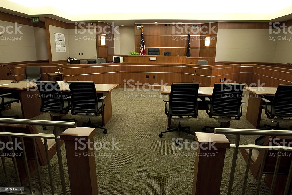 Modern Courtroom Wide Angle from Gallery's Point-of-View stock photo