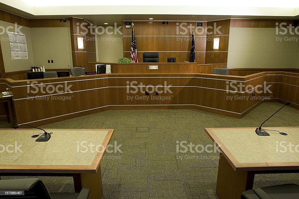 Modern Courtroom with Judge's Bench, Attorneys' Desks Medium Wide Angle stock photo