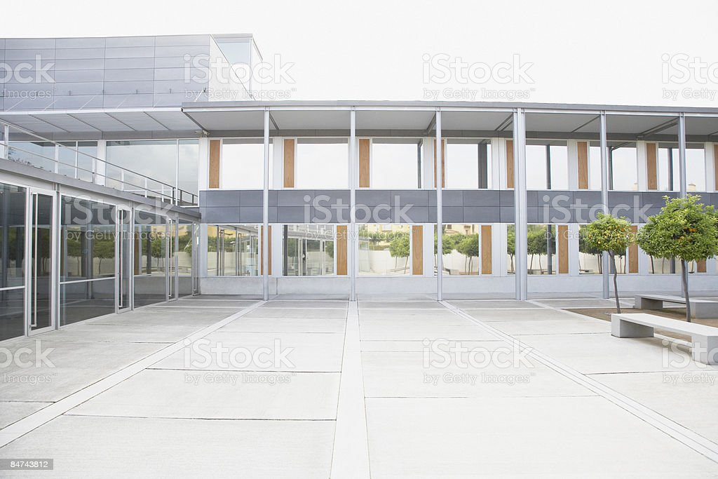 Modern courtyard and office building stock photo