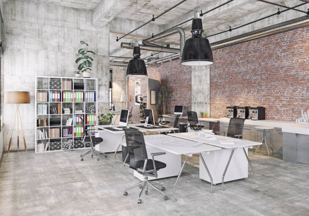 modern coworking office modern  loft office . 3d rendering concept coworking stock pictures, royalty-free photos & images