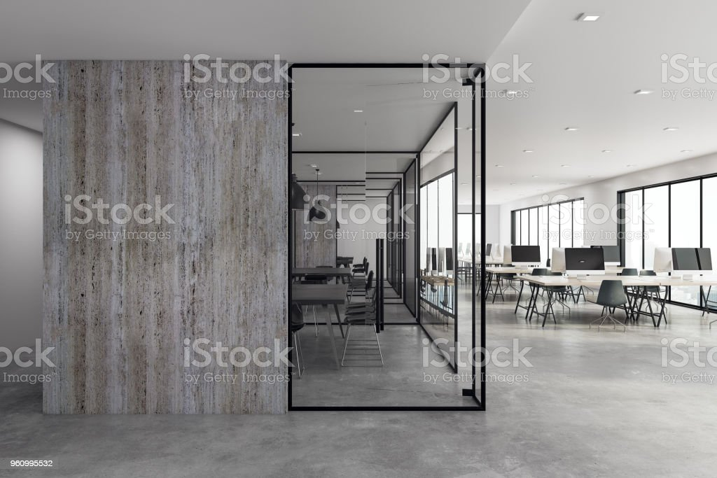 Modern coworking office with copyspace stock photo