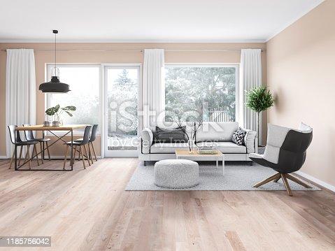 Modern cozy interior. Render image.