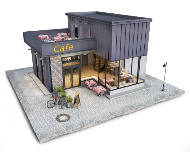 Modern cozy small cafe on a piece of the ground, 3d illustration stock photo