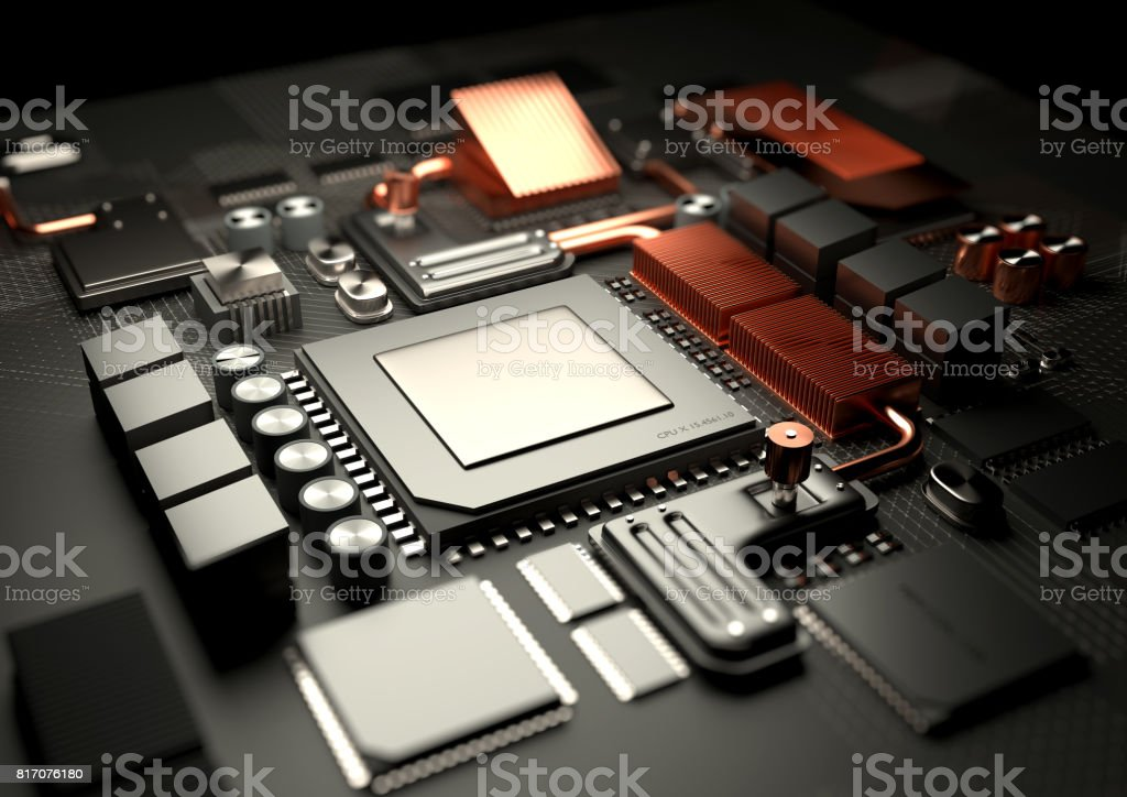 Modern CPU and Motherboard Technology Background stock photo